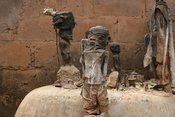 Voodoo altar with several fetishes, picture made in march 2008 in Abomey, Benin.
