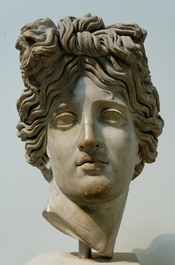 Head of Apollo, recalling the Apollo Belvedere. Marble, Roman copy of ca. 120-140 AD after a Hellenistic original. From Rome.