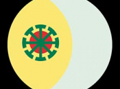 Emblem of the Wican current of Wicca. It is composed by a representation of the Sun, a representation of the Moon and a symbol of the eight Sabbats and the Wheel of the Year.