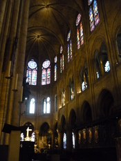 Clerestory windows (upper windows above the flying buttresses), are designed to let more light into the church. They are adapted from an ancient Roman design and were used throughout the medieval time period. Notre Dame, Paris