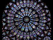 Rayonnant north rose window of the Cathédrale Notre-Dame de Paris עברית: חלון הרוזטה הדרומי של קתדרלת נוטרדאם דה פארי, בסגנון גותי קורן