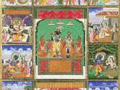 Vishnu with his 10 avatars (incarnations): Fish, Tortoise, Boar, Man-Lion, Dwarf, Rama with the Ax, King Rama, Krishna, Buddha, and Kalkin. Painting from Jaipur, India, 19th century; in the Victoria and Albert Museum, London.