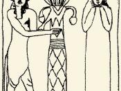 English: Drawing of Enlil and Ninlil taken from a mural decoration of Susa. Lord Enlil (with hooves and horns of the Bull God) and the Lady Ninlil. Second half of the 2nd millenium BC, Louvre, Paris. Baked bricks, height 54 inches.