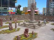 English: Shoot of the Monolith Reconstruction of Tiwanaku in downtown La Paz.