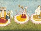 Brahma, Vishnu and Shiva seated on lotuses with their consorts, Saraswati, Lakshmi and Paravati respectively. ca 1770. Guler, India.