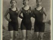English: Young women swimmers with competition medals circa 1920