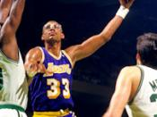 English: Los Angeles Lakers Kareem Abdul-Jabbar with Boston Celtics Robert Parish and Kevin McHale late 1980s