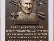 Ty Cobb's plaque in the Baseball Hall of Fame