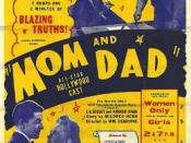 Poster for Babb's production of Mom and Dad, showing some of the rhetorical devices Babb would use to stir up controversy