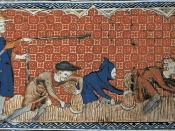 Русский: Феодал даёт указания крестьянам. Средневековая миниатюра