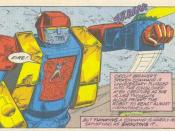 Circuit Breaker leads a giant Autobot she created from parts of other Autobots against the Decepticon Battlechargers in Marvel's Transformers comics