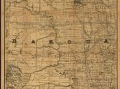 English: 1886 railroad map of Dakota.