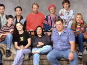 The cast of Roseanne. (from top left to top right) Glenn Quinn as Mark Healy, Johnny Galecki as David Healy, Martin Mull as Leon Carp, Estelle Parsons as Beverly Harris and Laurie Metcalf as Jackie Harris. (From bottom left to bottom right) Michael Fishma
