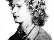 Sketched portrait of 23-year-old Algernon Charles Swinburne, poet and author.