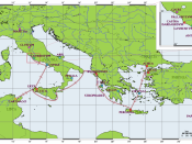English: Map of Aeneas' journeys. Deutsch: Karte mit den Reisen von Aeneas. Français : Carte des voyages d'Énée. Interlingua: Mappa del viages de Eneas.