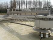 sedimentation tank at a large scale conventional sewage treatment plant in Merchtem - RWZI in Merchtem (Aquafin).