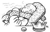 Norsk (bokmål): Illustrasjon til folkeeventyret Askeladden og de gode hjelperne «Det var en gang en konge, og den kongen hadde hørt tale om et skib som gikk like fort til lands som til vanns; så vilde også han ha et slikt et, og til den som kunne bygg