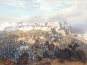 English: Battle of Chapultepec during the Mexican-American War, painting by Carl Nebel. Español: Representación de la Batalla de Chapultepec