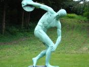 Modern copy of Myron's Discobolus in University of Copenhagen Botanical Garden, Denmark