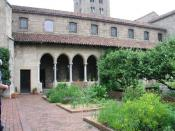The Bonnefont Cloister courtyard garden - at The Cloisters museum in New York.