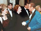 PM Margaret Thatcher meets Senator Strom Thurmond; First Lady Nancy Reagan can be seen at left, as well as President Ronald Reagan in the background