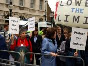 English: Pro-choicers and pro-lifers demonstrated in Parliament Square, London, as the House of Commons debated the Embryology Bill (focusing on whether the abortion time limit should be lowered from 24 weeks) on Tuesday May 20 2008. MPs voted to keep the