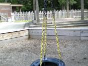 a rubber tire for swinging and spinning young children