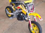 A mini Pocketbike dirt-bike. Photograph taken by myself, January 16, 2007.