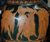 The rape of Leto by Tityos: Apollo (on the left), his bow and quiver hanging behind him, tries to stop Tityos while Artemis, holding a bow and a arrow, motions him to stop. Side A from an Attic red-figure amphora, ca. 515 BC. From Vulci.