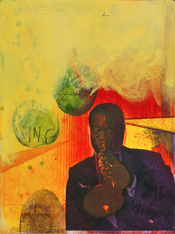 Louis Armstrong. Handcolored etching and Photogravure Satchmo (Louis Armstrong) by Adi Holzer 2002 (Work number 899). It is a part of the Zyklus Mythos 2 from the year 2002.