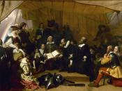 Embarkation of the Pilgrims by Robert Weir a copy is also located in the, United States Capitol rotunda, Washington, DC