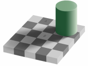 An optical illusion. Square A is exactly the same shade of grey as square B. See demonstration.