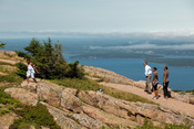 English: President Barack Obama and his family hike on Cadillac Mountain at Acadia National Park in Maine, July 16, 2010.