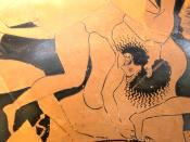 Sciron beaten by Theseus. Detail of the side A from an Attic red-figure cup, 500–490 BC. From Cerveteri (ancient Caere), Latium.