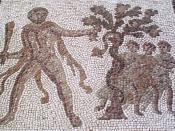 Hercules stealing the golden apples from the Garden of the Hesperides. Detail of The Twelve Labours Roman mosaic from Llíria (Valencia, Spain).