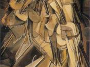 Nude Descending a Staircase, No. 2 (1912) by Marcel Duchamp displays Cubist and Futurist characteristics