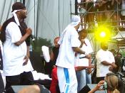 Left to right: Mathematics (in back), Inspecta Deck, Street Life, U-God, Cappadonna (crouched, in red), Method Man, GZA, Raekwon, RZA