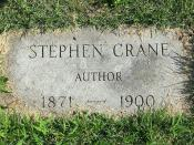 Gravestone of American author Stephen Crane in Evergreen Cemetery, Hillside, New Jersey.