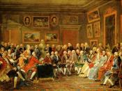 The picture shows a gathering of distinguished guests in the drawing-room of French hostess Marie-Thérèse Rodet Geoffrin (1699-1777) who is seated on the right. There is a bust of Voltaire in the background.
