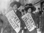 Two women strikers on picket line during the