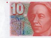 Front of the 10 swiss franc banknote honoring Leonhard Euler