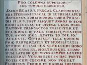 Latin epitaph of Blaise Pascal, church Saint-Étienne-du-Mont, Paris.