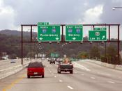 English: Interstate 64 along the viaduct in Charleston, West Virginia.