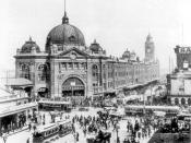 Flinders Street Station, located at the intersection of Flinders Street and Swanston Streets, 1927.