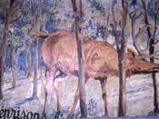 Illustration de la fable de Jean de La Fontaine: Le cerf se voyant dans l'eau Livre VI fable IX.