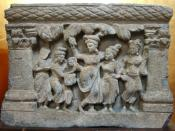 The virgin birth of Siddhārtha from the hip of his mother, Gandhara, 2-3rd century CE