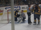 English: Ryan Miller, Goalie, sprains his angle.