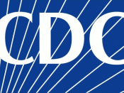 English: Logo of the Centers for Disease Control and Prevention, an agency within the United States Department of Health and Human Services. White on blue background with white rays but no white