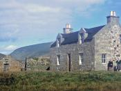 English: Punds 1964 The Isbister sisters were living in Punds in 1964. Their father had built the house one winter when the laird was away and against the wishes of the laird. I believe that this was the first one and a half storey house on Foula other th