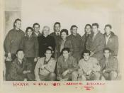 Molly Picon (center), actress Yvette Dugay (second row left), Cardinal Spellman, and troops during a U.S.O. tour, Korea, Christmas 1951